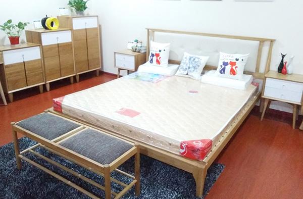 白橡实木简约双人床 床头柜 斗柜等